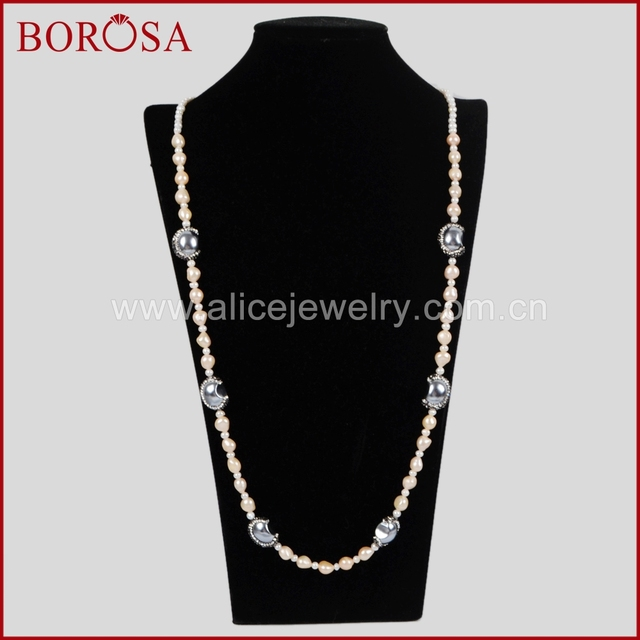 cec2f50619f2 BOROSA Perla Natural Con 6 Perlas de Media Luna de Plata Circón Pavimentada  Collar Drusy