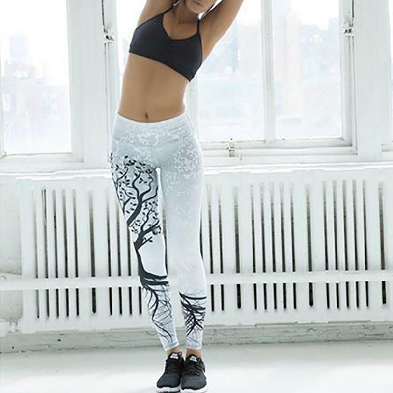 Kostlich Spring Tree Print Women Workout Leggings Put Hip Elastic High Waist Fitness Legging Breathable Slim Pants Women Leggins (8)