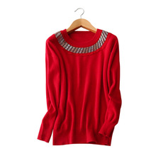 100% cashmere beading patchwork sweaters O-neck long sleeve knitting pullovers women's autumn/winter outwear