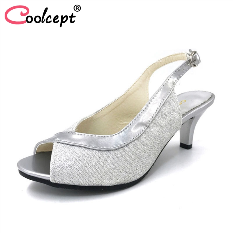Coolcept Women Peep Open Toe High Heel Sandals Lady Thin Heels Party Wedding Shoes Woman Back Strap Footwear Size 30-46 PA00328 coolcept women high heel sandals platform fashion lady dress sexy slippers heels shoes footwear p3795 eur size 34 43