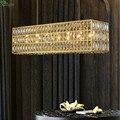 Роскошная лампа для столовой Led E14 подвесные светильники прямой блеск золотые металлические лампы Led Luminarias K9 кристалл крепеж для подвесных с...
