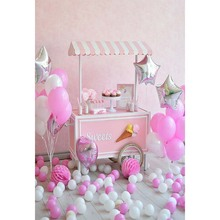 Sweet princess Birthday party baby pink balloons Photography Backdrops in background for photo studio newborn photography props pastel pink color princess baby girl photo shoot background printed flowers newborn photography props kids portrait backdrops