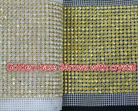 DHL free!24rows 5yards/lot Golden base clear crystal rhinestone trimming banding roll,wedding decoration patch stage garment