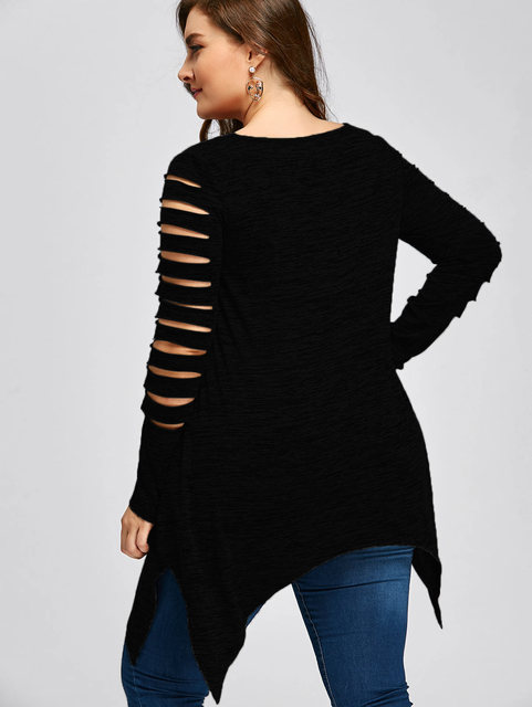 Plus Size 5XL 4XL T-Shirt Women Long Sleeves Autumn Winter Marled Ripped Sleeve Handkerchief Long Top Tees Casual