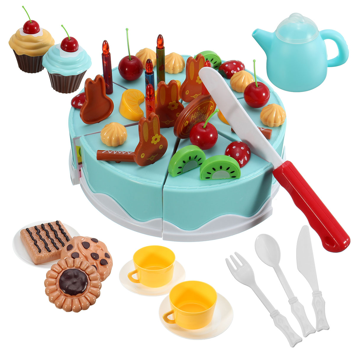 54pcs Kids Kitchen Toys Birthday Cake Cut Toys Pretend Play Plastic ...