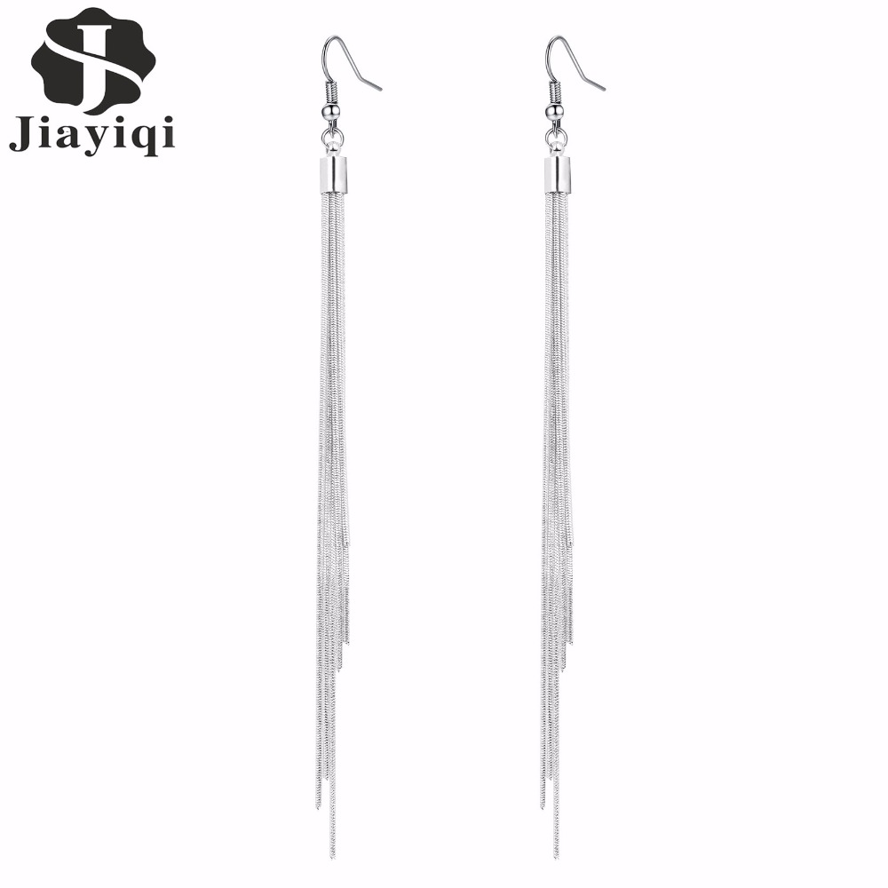 Jiayiqi Vintage Long Earrings Silver Color Tel High Quality Fashion Jewelry For Women Best Gift 2017 In Drop From