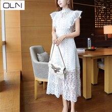 Vestidos New Arrival OLN Summer Dresslace  Korean new stitching beaded dress