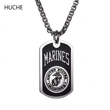 HUCHE Necklaces Pendants United States Marines Military Stainless Steel Link Chain Necklace for Men 60cm ZBP024