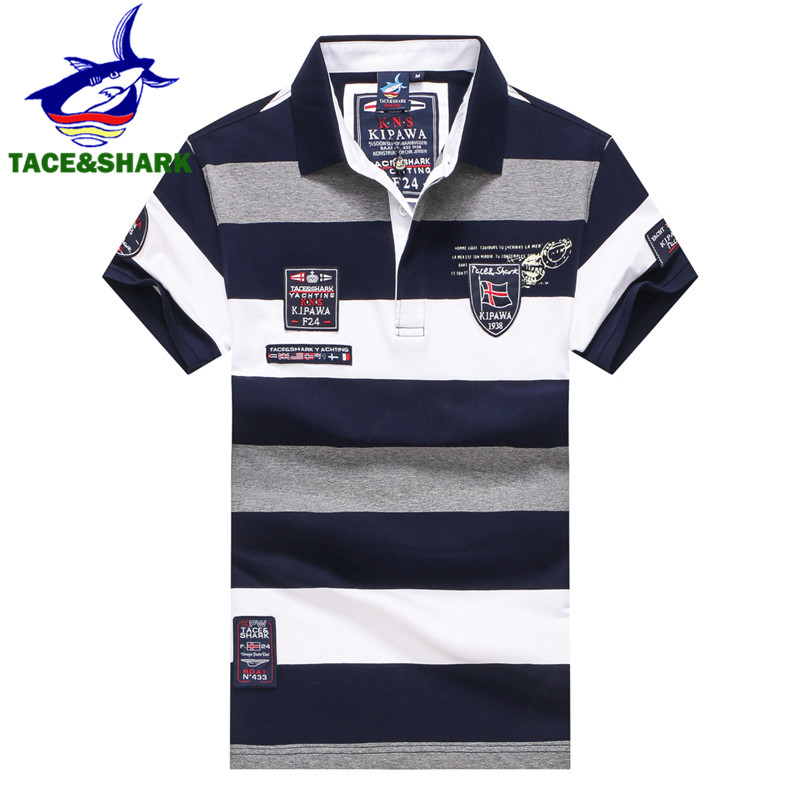 TACE&SHARK 2018 New style Fashion Summeer Men Wide stripe   polos   homme Casual embroidery Short sleeve   polo   shirt male para hombre