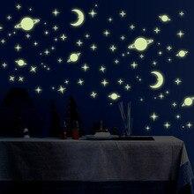 1 paket floresan duvar Sticker yıldız ay ev dekor ışık uzay gezegenler duvar çıkartmaları erkek çocuk odası DIY çıkartmaları