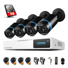 H.VIEW 1080P CCTV Camera System 4CH AHD NVR 4PCS 2.0MP Camera outdoor Indoor Security Camera kit Motion Detection WITH 1TB HDD
