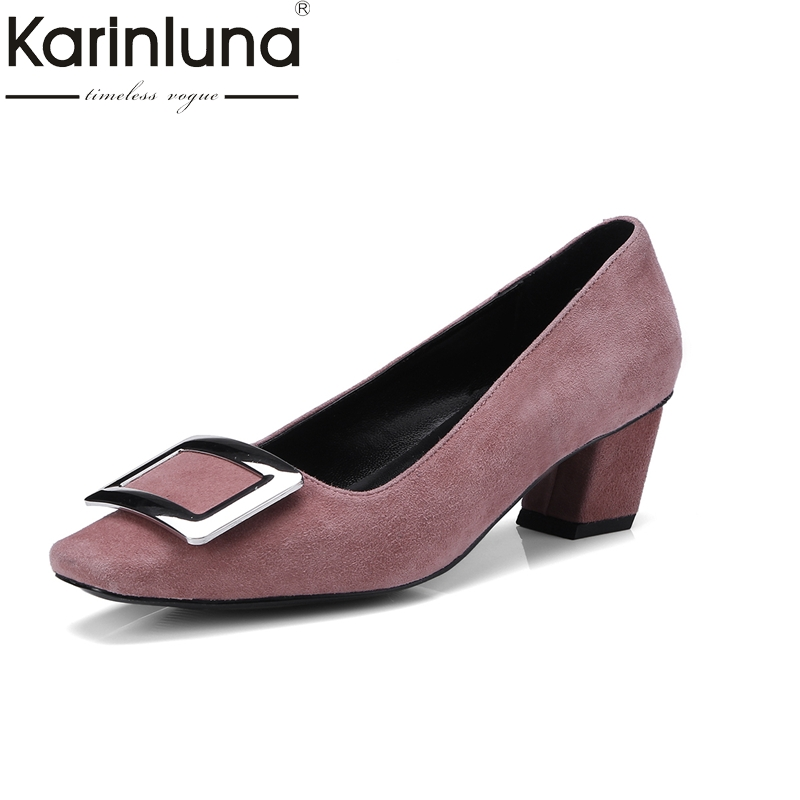 KarinLuna 2018 genuine leather slip on chunky mid Heels square toe black pink Office Party Pump Shoes Woman Size 33-40 рюкзак case logic 17 3 prevailer black prev217blk mid