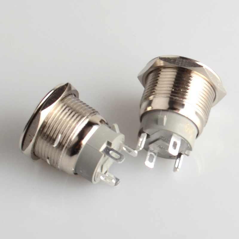 19mm interruptor lateral momentáneo Metal anular botón interruptor anillo LED auto-bloqueo/Auto-recuperación impermeable botón de la puerta del coche