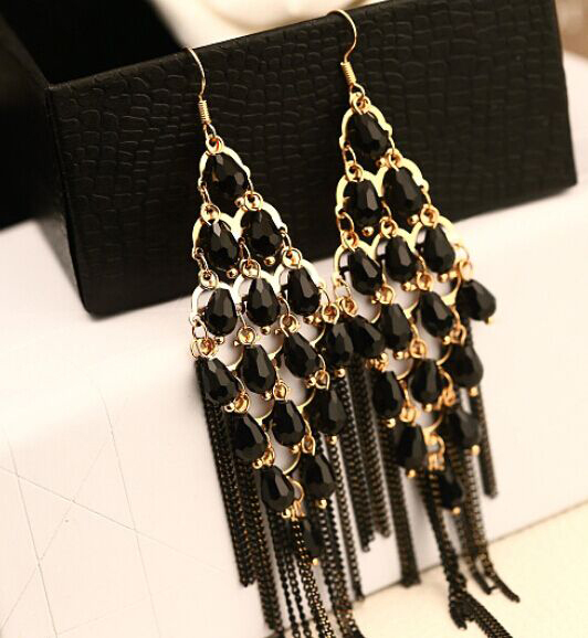 Fluorescent black beads tassel long crystal  earrings/korean luxury  jewelry wholesale/maxi brincos femininos/boucle d'oreille