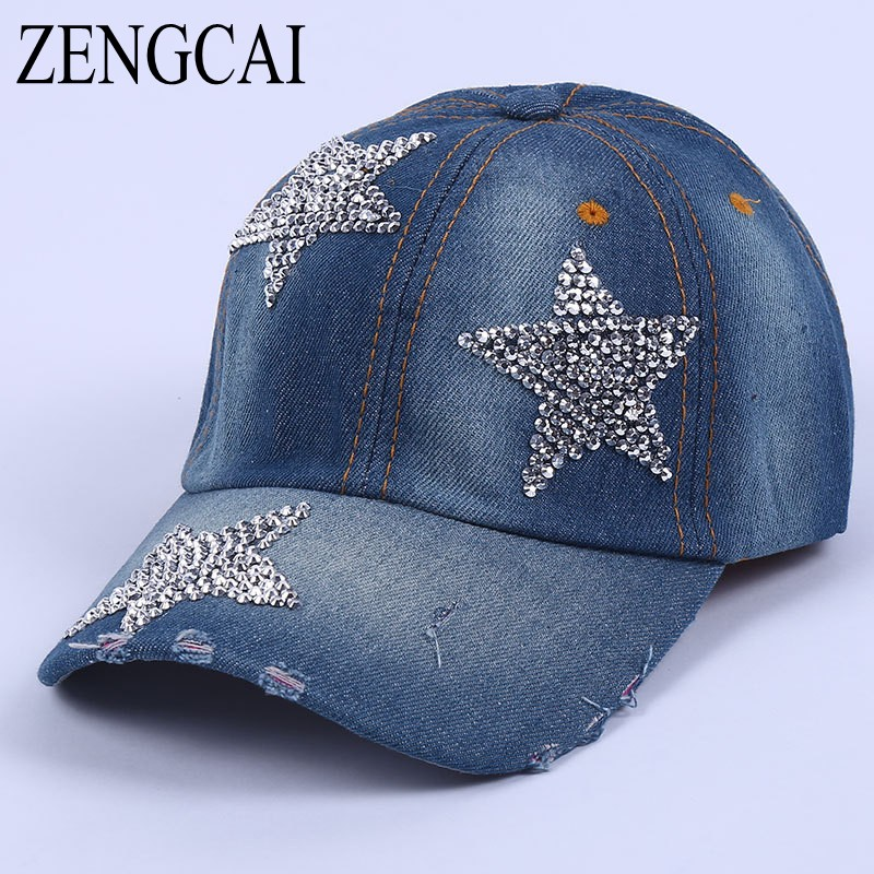 ZENGCAI 2017 New Brand Summer Hat Rhinestone Stars Denim Baseball Cap Men Women Outdoor Fall Cap Snapback Unisex Sun Hat Gorras showersmile brand sherlock holmes detective hat unisex cosplay accessories men women child two brims baseball cap deerstalker