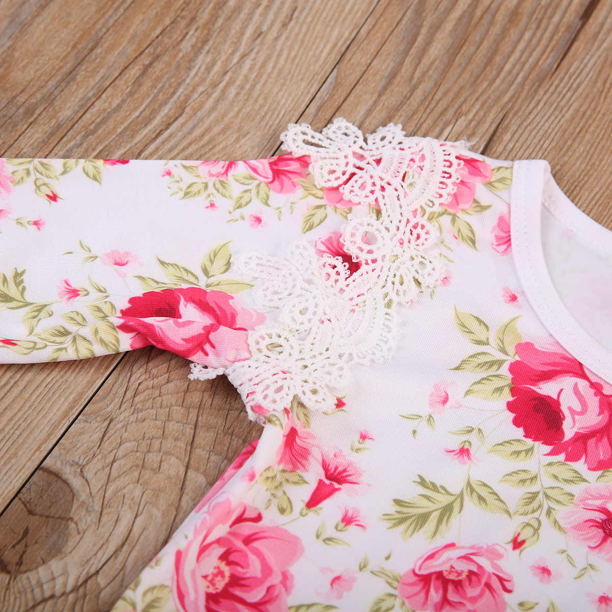 678021420fb ... Autumn baby girl clothes cute Lace Floral long sleeve baby girl romper  red yellow 2 colors ...