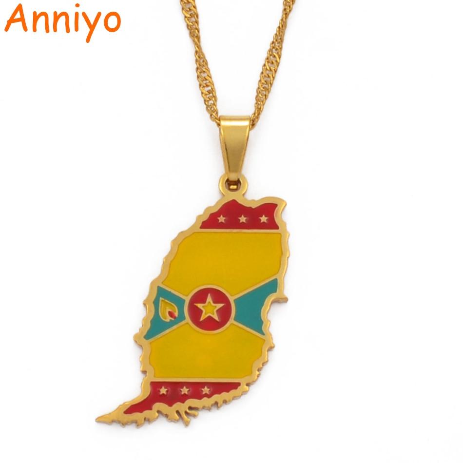 Anniyo цвета золота Гренада остров карта кулон в форме флага и волны воды Подарочные ожерелья украшения #098821