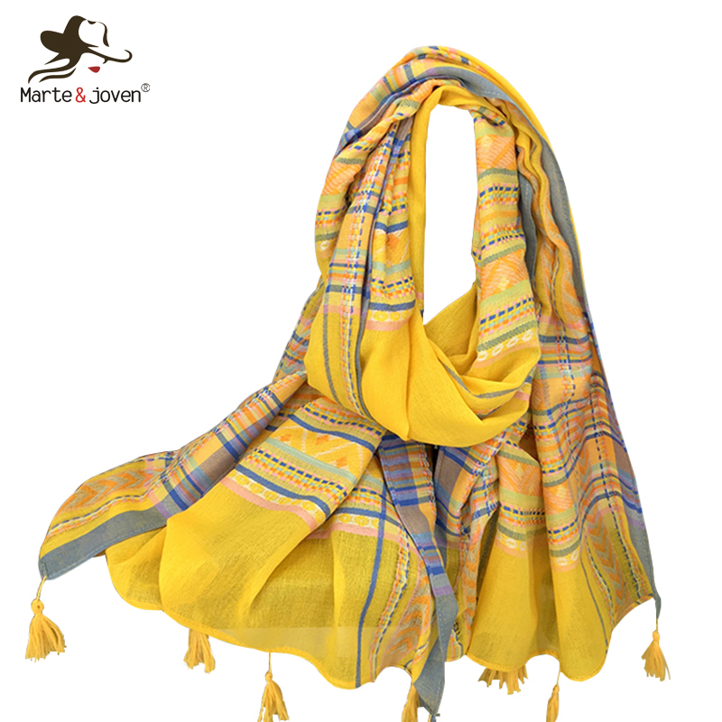 Marte&Joven Ethnic Style Colorful Plaid Embroidery Women Cotton Scarf Wrap Autumn Bohemia Striped Long Pashmina Shawls Tassels