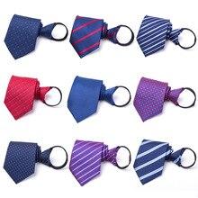 New 8CM Men Necktie Lazy Tie Zipper Neckties Stripe Neckcloth Neckwear Formal Gravata Company Business Wedding Party