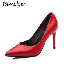 Bimolter Handmade High quality Cow Leather Pumps For Lady Elegat Women 9cm Thin Heels Red Green Shoes Pointed Toe FC031