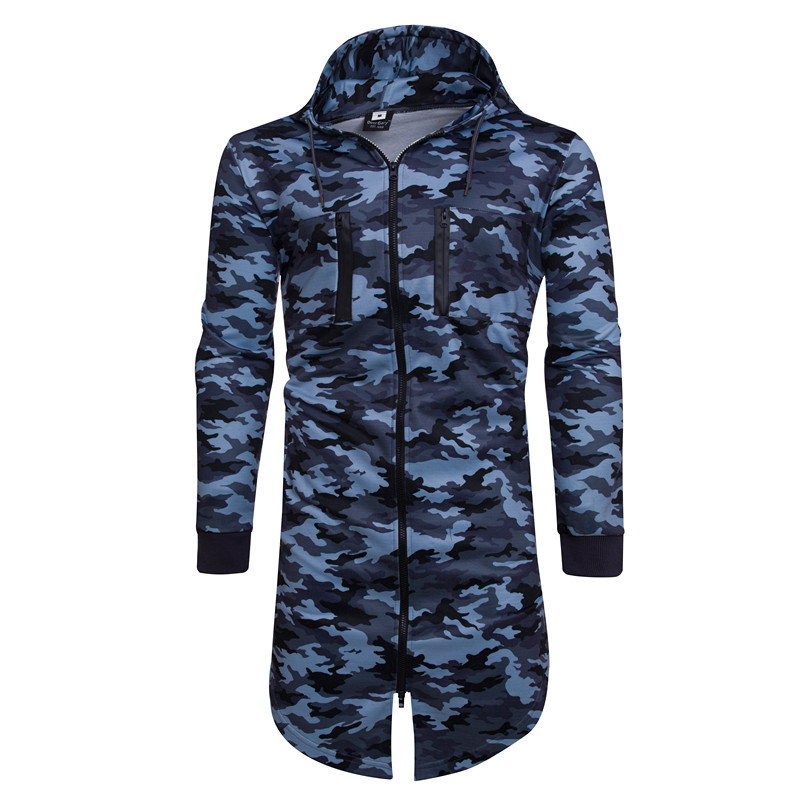 New 2018 Fashion Camouflage Long Design Men Hooded Sweatshirts Autumn Winter Long Hoodies Men Brand Hoody Jacket sudadera hombre