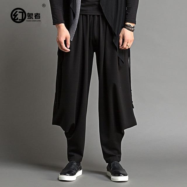 Большие промежность брюки мужчины падают свободные личности искусство коллекция размер ноги гарем брюки для мужчин случайные брюки