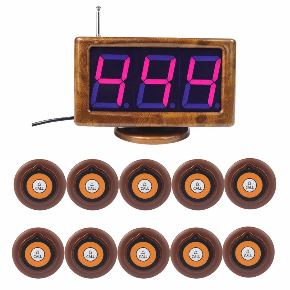 Wireless Calling Paging System Restaurant Call Pager 1 Receiver Host With Voice Reporting+ 10 Call Button Transmitter F3230A restaurant pager wireless calling system 1pcs receiver host 4pcs watch receiver 1pcs signal repeater 42pcs call button f3285c