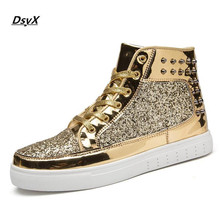 DsyX Men Fashion Winter Flats High Top Golden Silver Rivet Sequins Shiny Shoes Leather Casual Shoes Brand