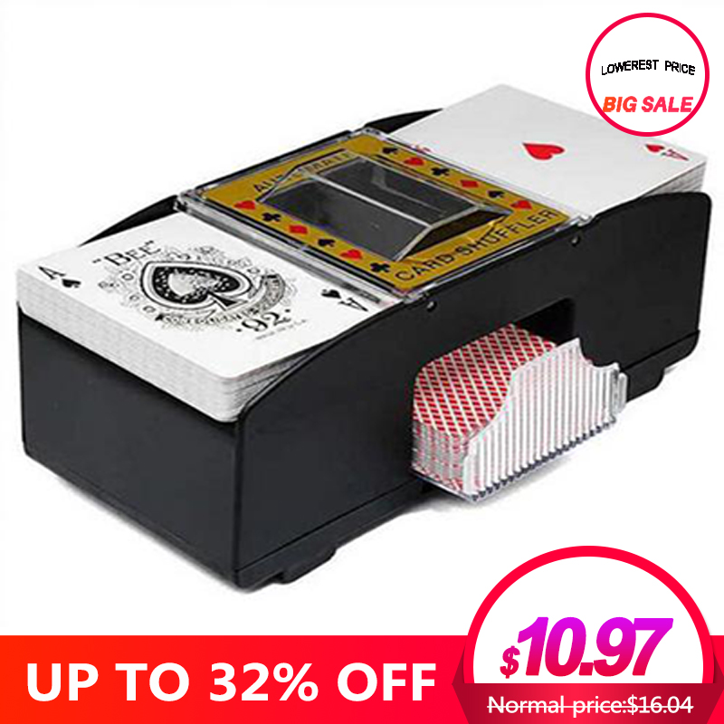 Board Game Poker Playing Cards Wooden Electric Automatic Playing Card Shuffler For Poker deck shuffler Games happy party image