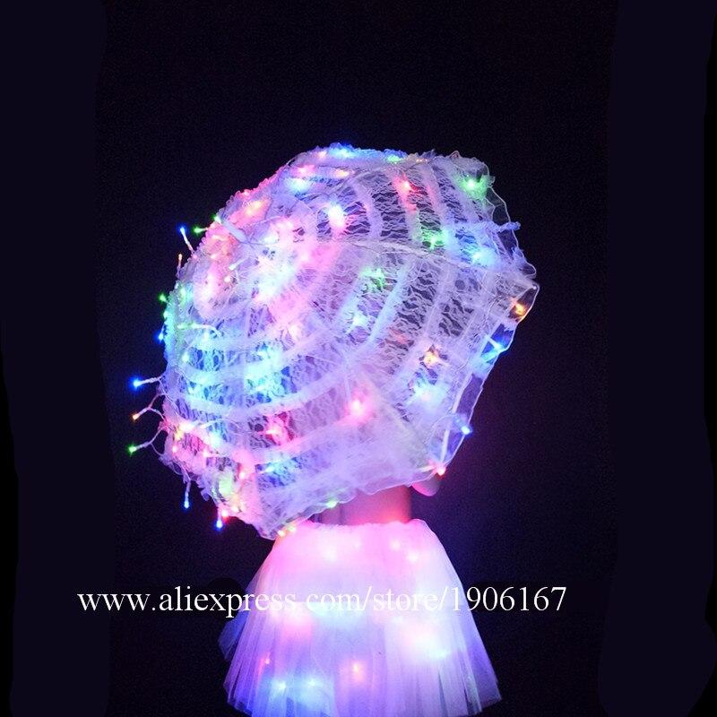 White Valentine\'s Day LED luminous wedding design gogo female songs ds hundred DJ suit costumes06