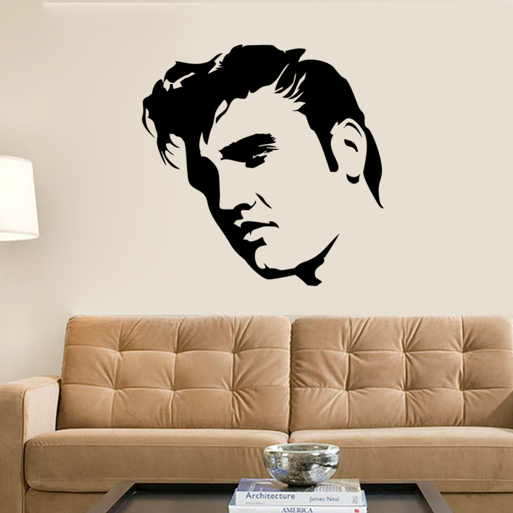 Creative Large Elvis Presley Wall Decals Bedroom Home Decor Black