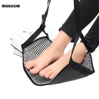 SGODDE Fashion Portable Cotton Knitted Footrest Flight Carry On Foot Hammock Rest Soft And Durable