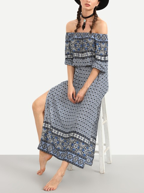Women  Bohemia dresses Ladies sexy Casual Off the shoulder Long Maxi Beach Dress