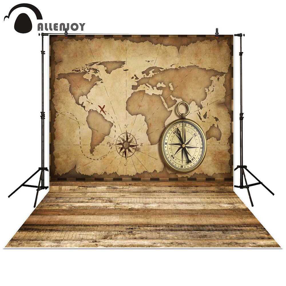 Allenjoy photography backdrop Sailing travel Compass map Wood brown baby shower children background photo studio photocall allenjoy photography backdrop brick wall wooden floor white baby shower children background photo studio photocall