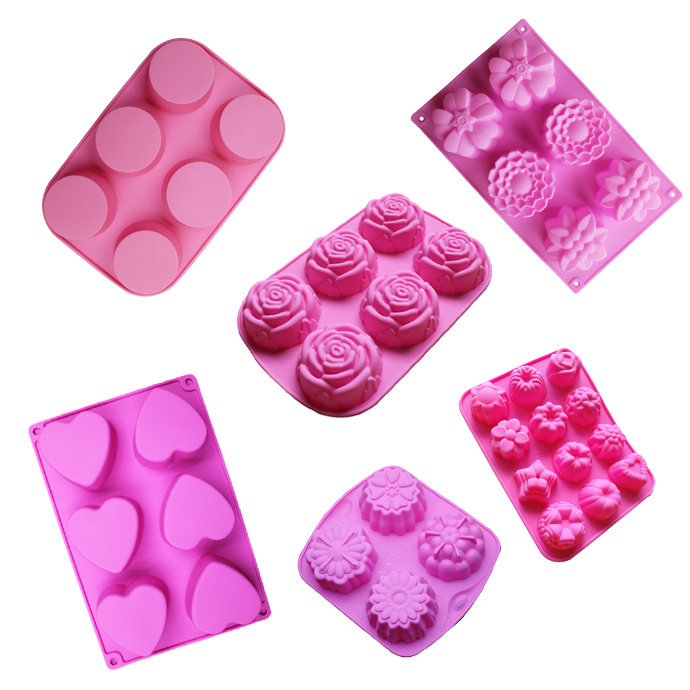 silicone soap mold flower cake bakeware tool muffin cupcake form silicone jello pudding ice mould pastry biscuit baking molds
