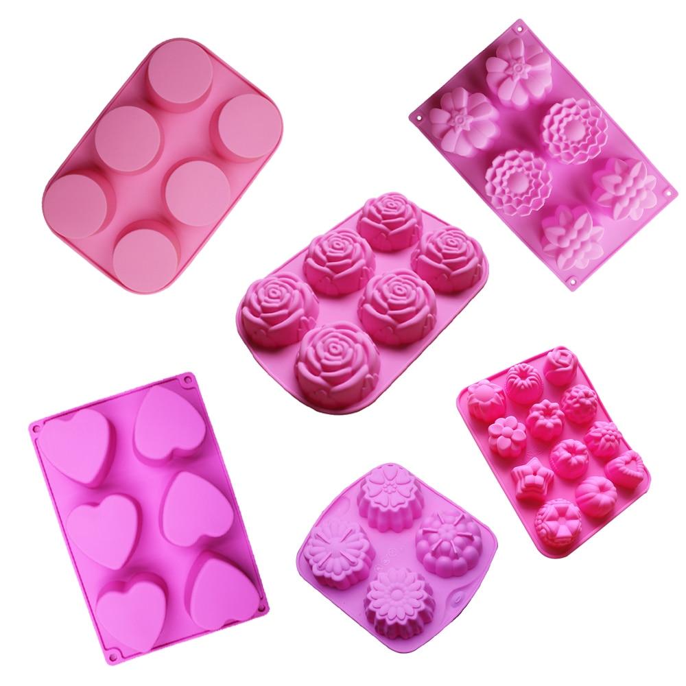 силіконові мила цвіль квітка торт форми для випічки інструмент кекс форма кекс силіконова jello пудинг лід цвіль кондитерські печиво форми випічки