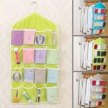 Durable Storage Box 16Pockets Clear Hanging Bag Socks Bra Underwear Rack Hanger Storage Organizer