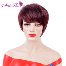 Amir Straight Short Wigs Synthetic Hair High Temperature Fiber wine red Hair Wigs Cancer Daily Wigs