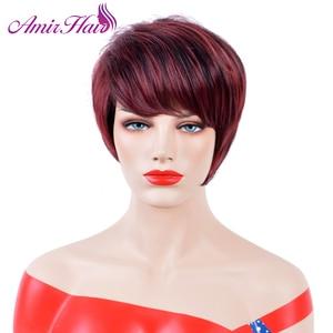 Image 1 - Прямые короткие парики Amir, синтетические волосы, высокотемпературные волосы из волокна, винно красные волосы, искусственные волосы