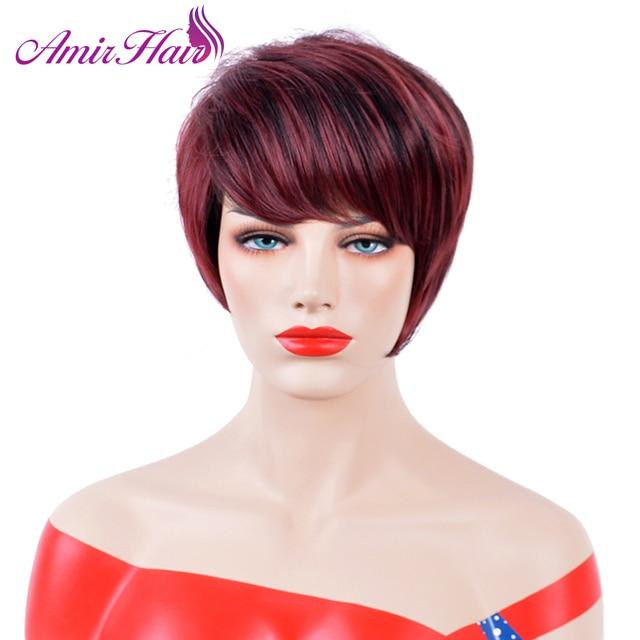 Pelucas cortas y rectas de pelo sintético pelucas de pelo rojo vino de fibra de alta temperatura, pelucas para uso diario