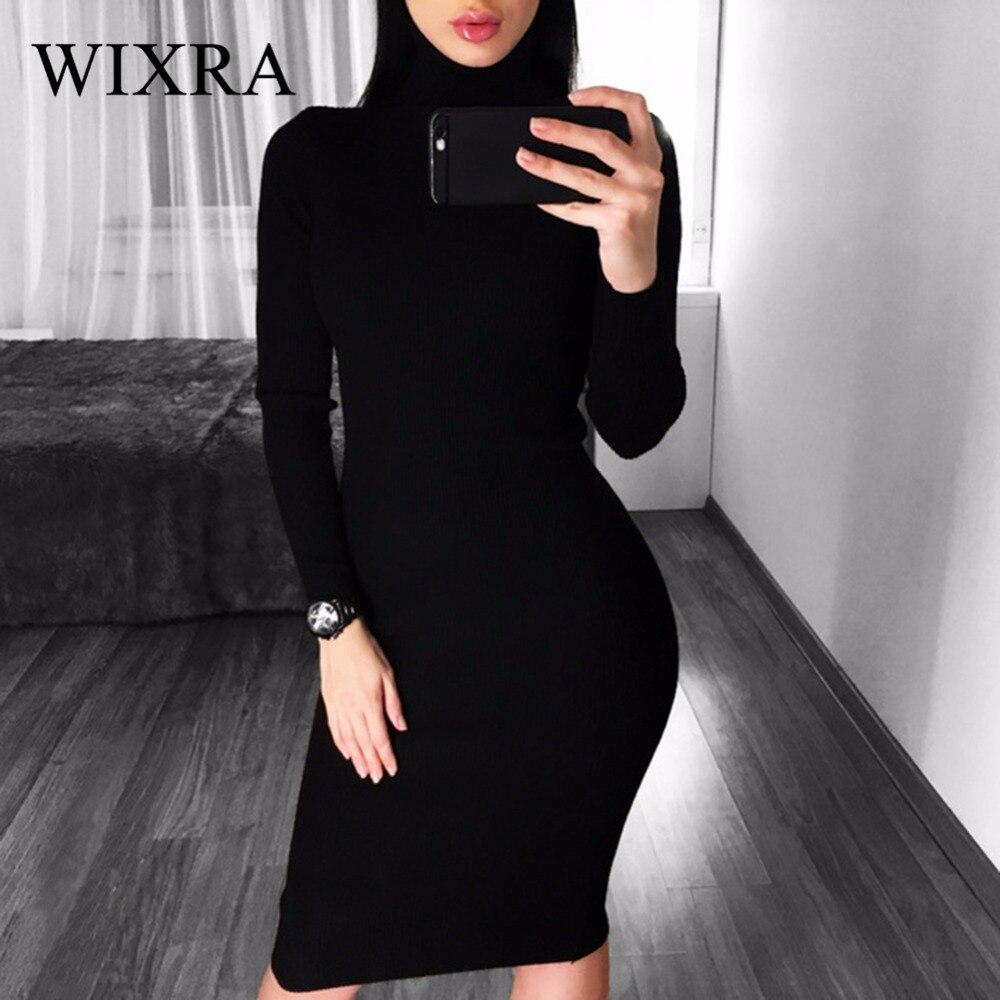 Wixra Chaud Femmes Automne Hiver Chandail Tricoté Robes Mince Élastique Col Roulé À Manches Longues Sexy Lady Moulante Robe Robes
