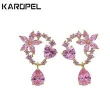 Fashion Creative Garland Earrings Pink Cubic Zircon Lovely Sweety Flower Earring For Women Costume Jewelry