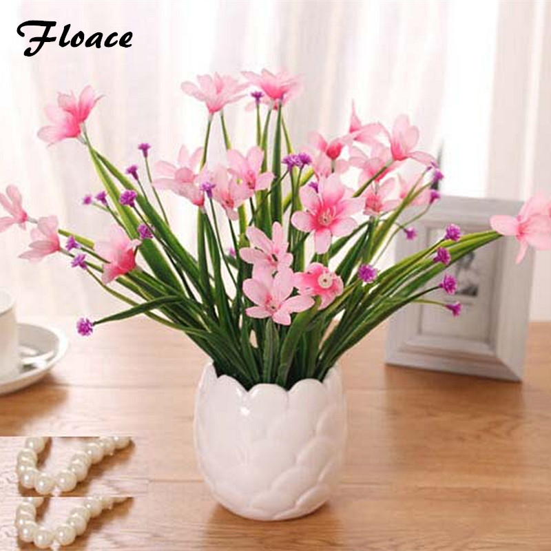 Floace Fresh orchid small potted artificial flowers simulation floral suite bedroom Home Decorations Flower Decoration