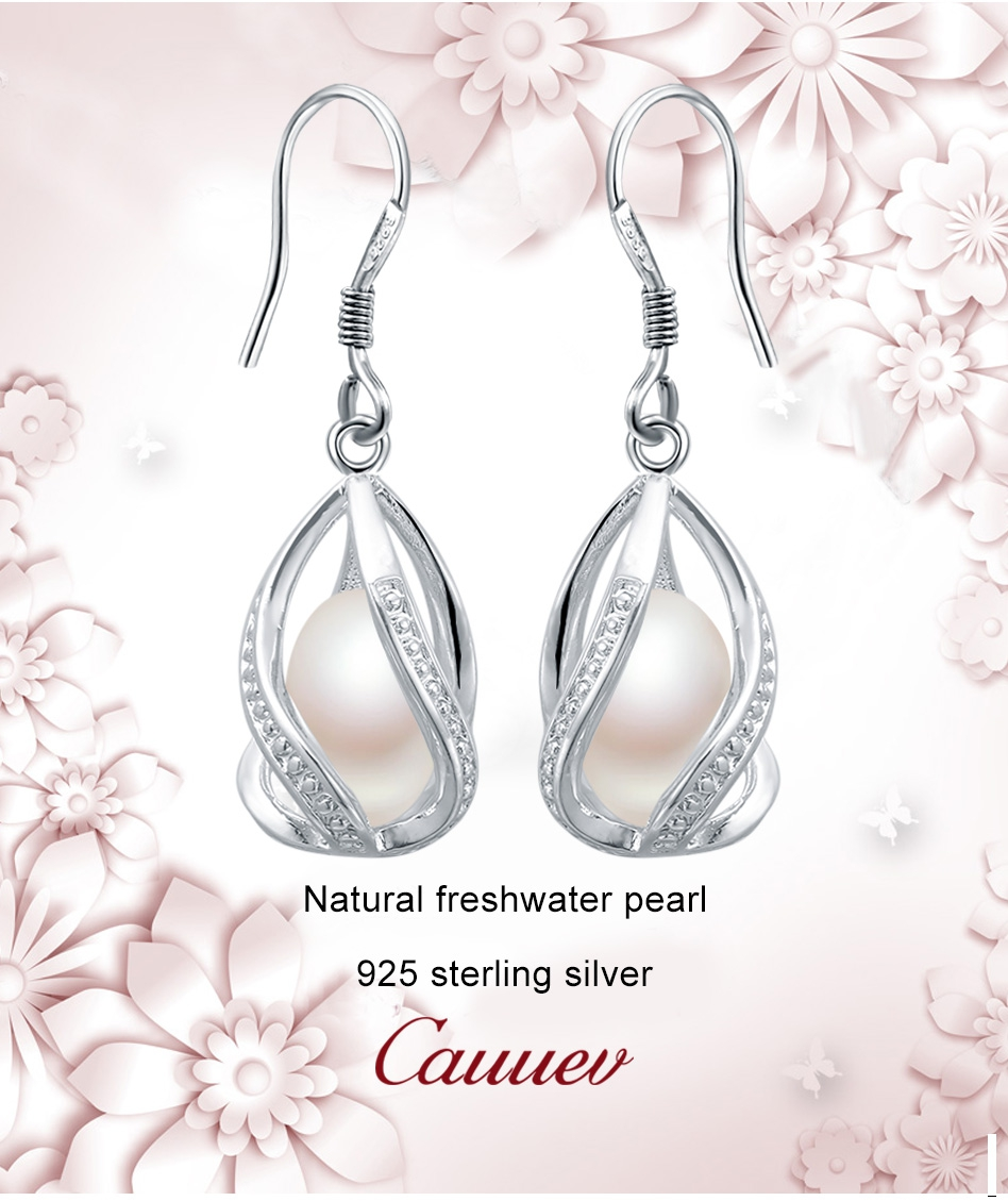 HTB12yAtMwHqK1RjSZFgq6y7JXXa6 - Natural Freshwater Pearl Drop Earrings For Women Elegant 925 Sterling Silver Anti allergy Earrings DIY Cage Jewelry 2019 cauuev