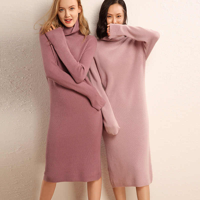 adohon 2019 woman winter Cashmere sweaters and auntmun knitted Dresses Pullovers High Quality Lady Office Warm Female Turtleneck