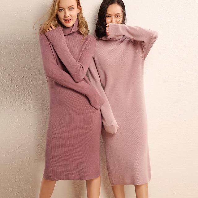 Adohon 2019女性の冬カシミヤセーターと秋ニットドレスプルオーバー高品質の女性のオフィス暖かい女性タートルネック