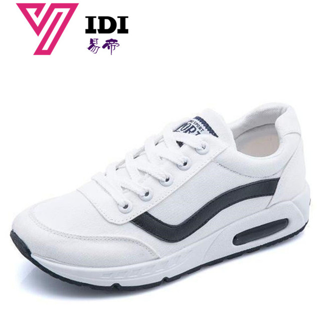 YIDI 2018 New Women s Casual Shoes Breathable Lightweight Sports Shoes  Canvas White Shoes Women Fashion Flat a713492be296