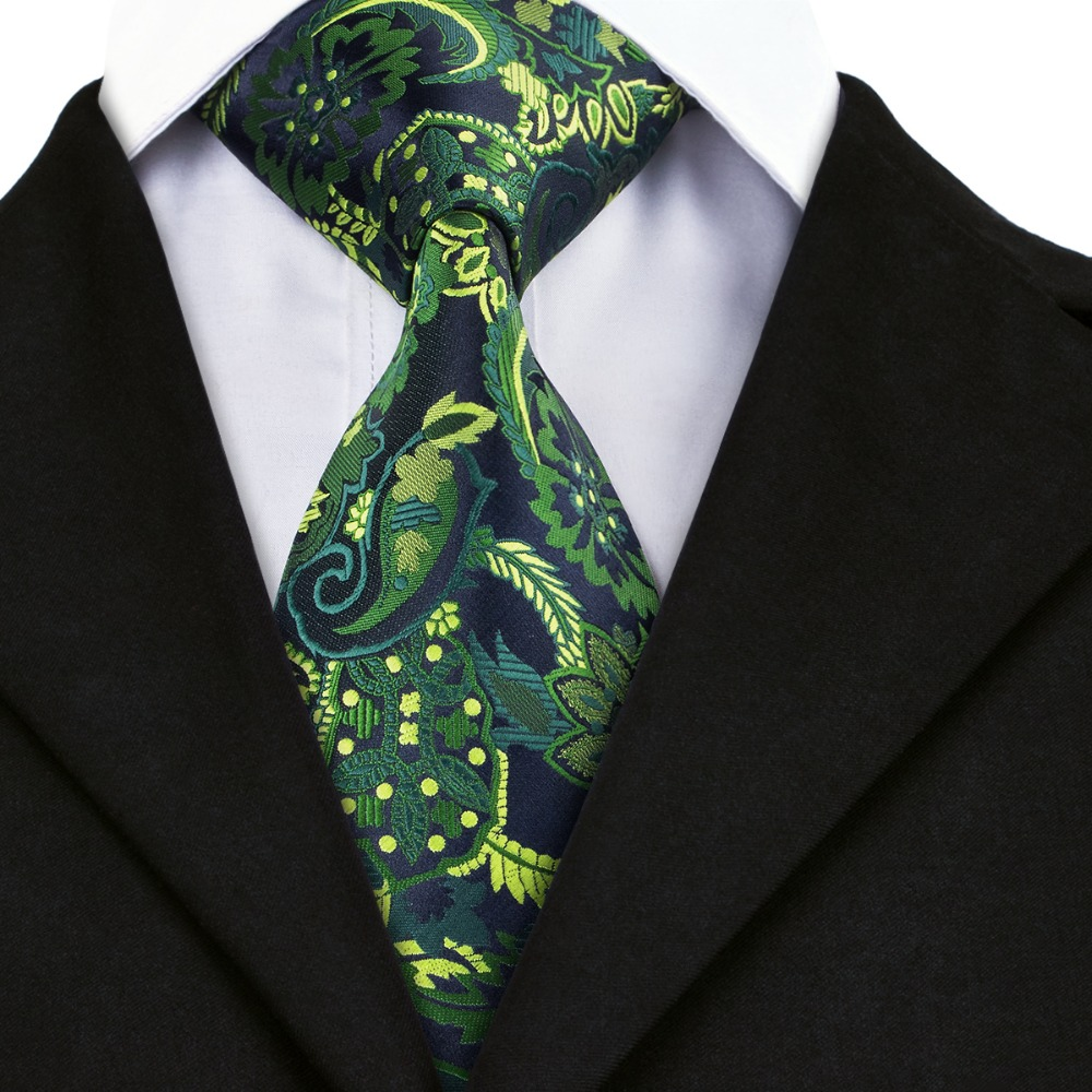 A-1444 New Arrival Silk Neck Ties For Men Wedding Business Suits Brand Hi-tie Fashion Mens Ties Green Navy Yellow Floral Ties