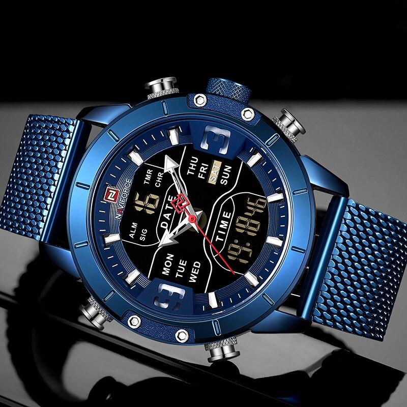 NAVIFORCE hommes montre Top marque de luxe homme Sport militaire montres à Quartz en acier inoxydable LED horloge numérique Relogio Masculino - 3