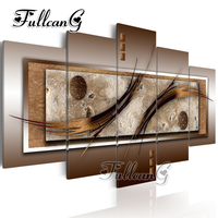FULLCANG diy 5 pieces diamond painting abstract landscape full square/round drill 5d cross stitch embroidery kits decor FC115